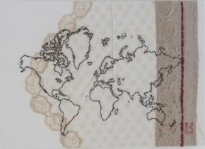 ristina Volpi  Mappa nr  2 2015 planisfero cucito su tessuti intelati 50x70 cm (2)