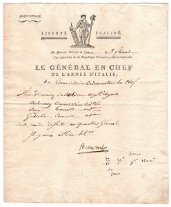 Autografo di Napoleone Bonaparte datato 1 796 uno dei primissimi documenti firmati in qualità di comandante dell'Armata d'Italia