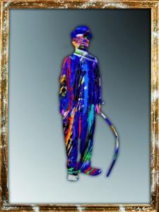 Charlie Chaplin_2012_olio e acrilico su specchio_153x114