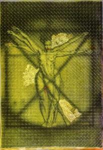 stampa fine art su mash forato su pellicola gold con foglia d'oro 110x150 cm