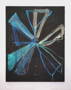 Blue green blue drip, 2020, acrylic and ink on canvas, cm. 180x140
